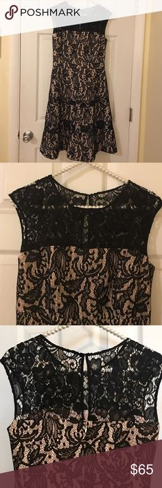 Kay Unger Fit & Flare cocktail dress in black/pink A modern take on Audrey Hepburn style, this gorgeous black lace, sleeveless cocktail dress will make you feel pretty! Worn only once, great for holiday parties. Kay Unger Dresses
