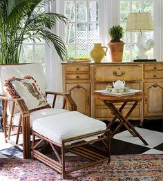 Although most sunrooms are centered around seating, a pretty piece of furniture such as a chest or dresser can be a great design focal point, too: http://www.bhg.com/home-improvement/porch/sunroom-decorating-and-design-ideas/?socsrc=bhgpin051214addafocalpoint&page=15