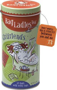 Bag Ladies Tea Girlfriends Tea Tin, 25 teabags of English Breakfast tea - http://mygourmetgifts.com/bag-ladies-tea-girlfriends-tea-tin-25-teabags-of-english-breakfast-tea/