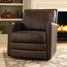 "Swivel Chair ""Bishop"" leather or fabric.  Clean lined swivel recliner option."