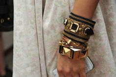 Bangles (mix different colours, textures and styles)