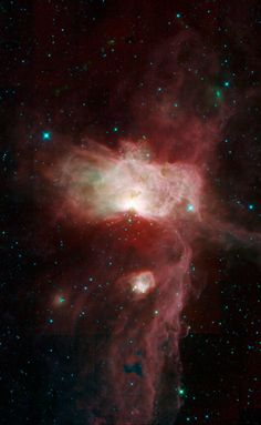 A Flame in Orion's Belt This mosaic image taken by NASA's Wide-field Infrared Survey Explorer, or WISE, features three nebulae that are part of the giant Orion Molecular Cloud. The image covers an area of the sky about three times as high and wide as the full moon (1.5 by 1.8 degrees). Included in this view are the Flame nebula, the Horsehead nebula and NGC 2023. Credit: NASA/JPL-Caltech/UCLA