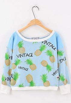 Price:$27.99 Color: Black/Yellow/White/Blue  Material: Cotton Blends Cool Retro Pineapple Print Long-sleeve Sweatshirt