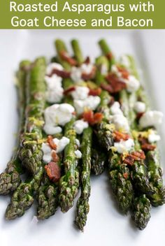 Roasted Asparagus with Goat Cheese and Bacon || A Less Processed Life