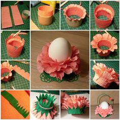 Easter is coming! Have you started to prepare for the holiday decorations? You don't have to spend extra money on some fancy Easter decors. You can make beautiful decors with something as simple as crepe paper and. Kids Crafts, Easter Crafts, Easter Decor, Diy Paper, Paper Crafting, Diy Quilling, Paper Lotus, Crepe Paper Flowers, Flower Paper