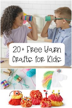If ever there was a time for a collection of free yarn crafts for kids this is it! Here are 20 yarn craft tutorials to keep them busy and happy! Yarn Crafts For Kids, Diy Projects For Kids, Toddler Crafts, Arts And Crafts, Kids Diy, Good Tutorials, Craft Tutorials, Craft Ideas, Craft Patterns