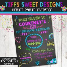 Chalkboard Invitation  Celebrate Invitation Neon Colors  Instant