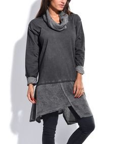 Another great find on #zulily! Gray Layered Cowl-Neck Asymmetrical Dress #zulilyfinds