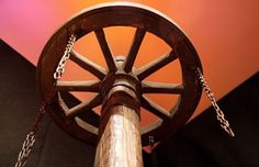 Wheel. Popular in the Middle Ages unit, both torture and execution, used only when the charges of witchcraft. Usually, the procedure was divided in two phase, both the painful enough. The first consisted of fractures of the greater part of the bones and joints using a small wheel called a grinding wheel and fitted out numerous spines.