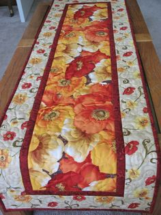Poppy Table Runner Quilted by PicketFenceFabric on Etsy, $33.95