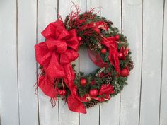Christmas Wreath Holiday Wreath Winter Wreath by KathysWreathShop