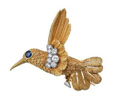 Diamond and sapphire brooch, Cartier, modelled as a hummingbird