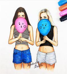 Best friends bff drawings, cute best friend drawings, drawing of best friends, drawings