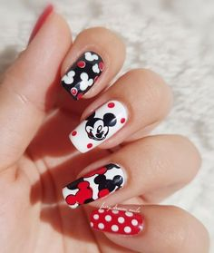 Classic Mickey colors with a different decal print on each nail. Disney Nail Designs, Acrylic Nail Designs, Acrylic Nails, Coffin Nails, Polka Dot Nails, Polka Dots, Mickey Mouse Nail Design, Disney Manicure, Disneyland Nails