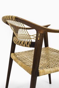 teak and woven cane 'Bambi' armchair   designed by Rolf Rastad & Adolf Relling for Gustav Bahus & Eft in Norway, 1950's