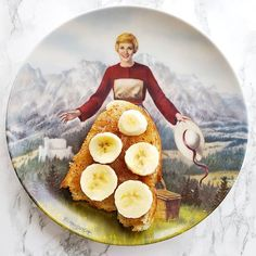 Maria breakfasted on something interesting today... sourdough toast spread with Solo Almond Filling with sliced bananas on top.  It was #shockinglydelicious !