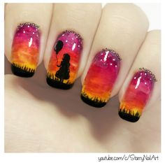 Girl With a Balloon - Sunset Nails [Freehand Nail Art]