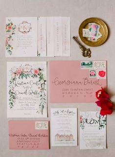 Pink + red invitation suite | Photography: Peter and Veronika