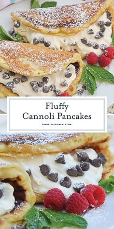 Cannoli Pancakes are stuffed with a rich, delicious cannoli filling. This breakf… Cannoli Pancakes are stuffed with a rich, delicious cannoli filling. This breakfast cannoli is perfect for special breakfasts and brunches. Yummy Pancake Recipe, Tasty Pancakes, Homemade Pancakes, Pancake Recipes, Pancake Fillings, Lemon Ricotta Pancakes, Pancake Muffins, Waffle Recipes, Desert Recipes
