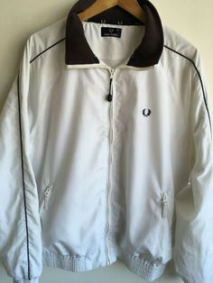 3ce74bcb14d6 FRED PERRY MENS M 38-42 WHITE TRACKSUIT TOP TRACK JACKET COAT  fashion