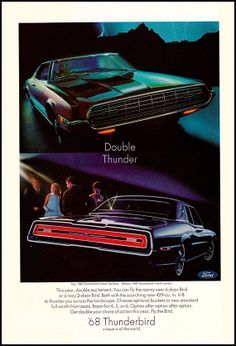 1968 Ford Thunderbird -  Vintage Print Advertisement - 2-door Hardtop  4-door Landau