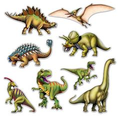 Dinosaur Cutouts Dinosaur CutoutsIf your child loves dinosaurs and is an expert these Dinosaur Cutouts are a must have! Decorate their birthday, dinosaur, or jungle theme party and see if they can name each one! Party Wall Decorations, Dinosaur Party Decorations, Dinosaur Party Supplies, Dinosaur Birthday Party, Tyrannosaurus, Festa Jurassic Park, Imprimibles Toy Story Gratis, Jungle Theme Parties, Dinosaur Images