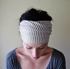 STRIPED TAUPE Head Scarf - Taupe and White Stripes - Hair Accessories, Headband, Hair Wrap - Womens Headbands, Head Scarves
