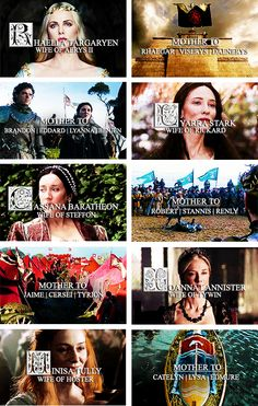 Mothers of the great houses Targaryen, Stark, Baratheon, Lannister, and Tully.