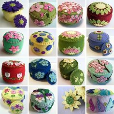 Sew Cushions Check out these whimsical creations from The Daily Pincushion, and I dare you to only choose one to be your favorite. Felt Crafts, Fabric Crafts, Sewing Crafts, Sewing Projects, Felt Embroidery, Felt Applique, Felt Pincushions, Art Fil, Penny Rugs