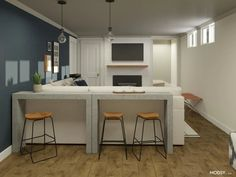 bar stools guide Interior Design Help, Basement Living Rooms, Multipurpose Furniture, Transitional Living Rooms, Transitional Style, Built In Bar, Black Table Lamps, Lounge Areas, Open Concept
