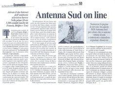Comma3 realizza il sito di Antenna Sud - Articolo su La Gazzetta dell'Economia