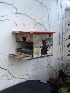 DIY: 1 Euro pallet outdoor cat house.Feines Katzenhaus für draußen,gewerkelt aus einer Europalette.