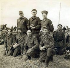 Men from many nationalities were conscripted or volunteered to fight in the German Wehrmacht during World War II. Nothing illustrates this better than this photo of soldiers captured in France by Allied forces. Front Row (from left to right): a Yugoslav; an Italian; a Turk; a Pole Back Row (from left to right): a German; a Czech; a Russian who was forced into the army when the Nazis occupied his town; and a Mongolian.