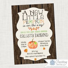 Fall Baby Shower Invitation - Fall, Autumn, Rustic, Wood, Pumpkin Baby Shower Candy, Fun Baby Shower Games, Baby Shower Brunch, Baby Shower Fall, Gender Neutral Baby Shower, Fall Baby, Baby In Pumpkin, Little Pumpkin, Baby Shower Printables