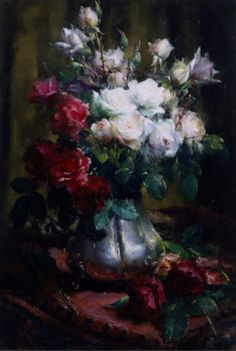 Painting by Frans Mortelmans, Roses. Art Floral, Renoir Paintings, Art Paintings, Red And White Roses, Still Life Flowers, Oil Painting Flowers, Flower Oil, Fruit Art, Matisse