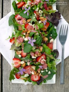 Strawberry Almond Wild Violet Salad ~ with fresh Strawberry Almond vinaigrette ~ Sumptuous Spoonfuls #salad #recipe