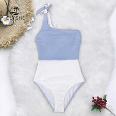 f96a182f70b16 Cupshe Blue And White Colorblock One Shoulder One-Piece Swimsuit Women Tied  Bow Monokini