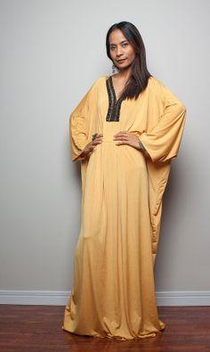 Yellow Maxi Dress  Kaftan / Kimono Butterfly Maxi Dress by Nuichan, $59.00