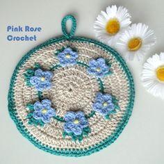PINK ROSE CROCHET ♡ Pega Panelas