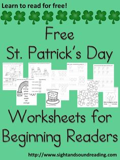 Free St. Patrick's Day worksheets for little readers:  Great for preschool or kindergarten or special needs/struggling readers.