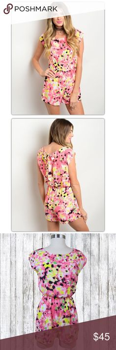 Selling this NWT Fuschia Pink & Yellow Floral Romper on Poshmark! My username is: doyoueventhrift. #shopmycloset #poshmark #fashion #shopping #style #forsale #Pants