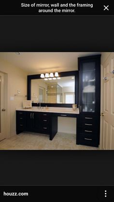 I like one sink with counter space & ability to sit down.  Love the matching linen cabinet as well.