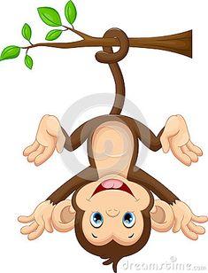Macaco bonito do bebê que pendura na árvore