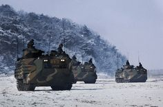 """Republic of Korea Marine corps """"amphibious armored personnel carrier"""" (KAAVP-7A1)."""