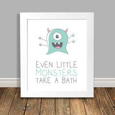 New to HappyHippoArts on Etsy: Kids Bathroom Art Monster Art Mint Green Monster Art Kids Room Art Kids Art Wall Poster Art Print Digital Download - 8x10 11x14 (6.50 CAD)