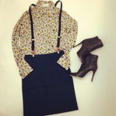 Leopard Shirt, Pencil Skirt, Suspender,Boots, 2013AW