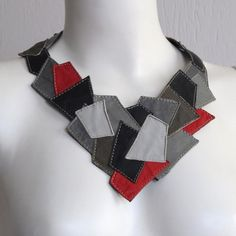 Unique necklace from UPCYCLED LEATHER black grays by vadenuevocr, $45.00