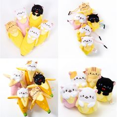 If you love Bananya this is your lucky day! Get yourself a Bananya bonanza in the form of this complete set of plush pen pouches, cleaner straps, ball chain mascots, and juggling balls each including five different Bananya. That's way more than your five a day - wholesome treats indeed.  #tokyootakumode #plushie #Bananya #Cats