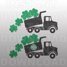 St Patricks Dump Truck SVG File,St Patricks Day SVG,Cutting Template-Vector Clip Art-Commercial & Personal Use-Cricut,Cameo,Silhouette Clover Logo, St Patricks Day Crafts For Kids, Cnc Woodworking, Software Support, Spring Projects, Silhouette Studio Designer Edition, Dump Truck, Cricut Vinyl, Boy Birthday Parties