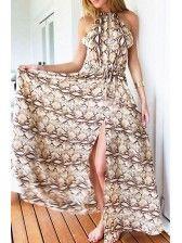 For Sale Printed High Collar Slit Dress Cheap Dresses Online, Cheap Maxi Dresses, Sexy Maxi Dress, Maxi Dress With Slit, Chic Dress, Modest Dresses, Sexy Dresses, Cute Dresses, Casual Dresses